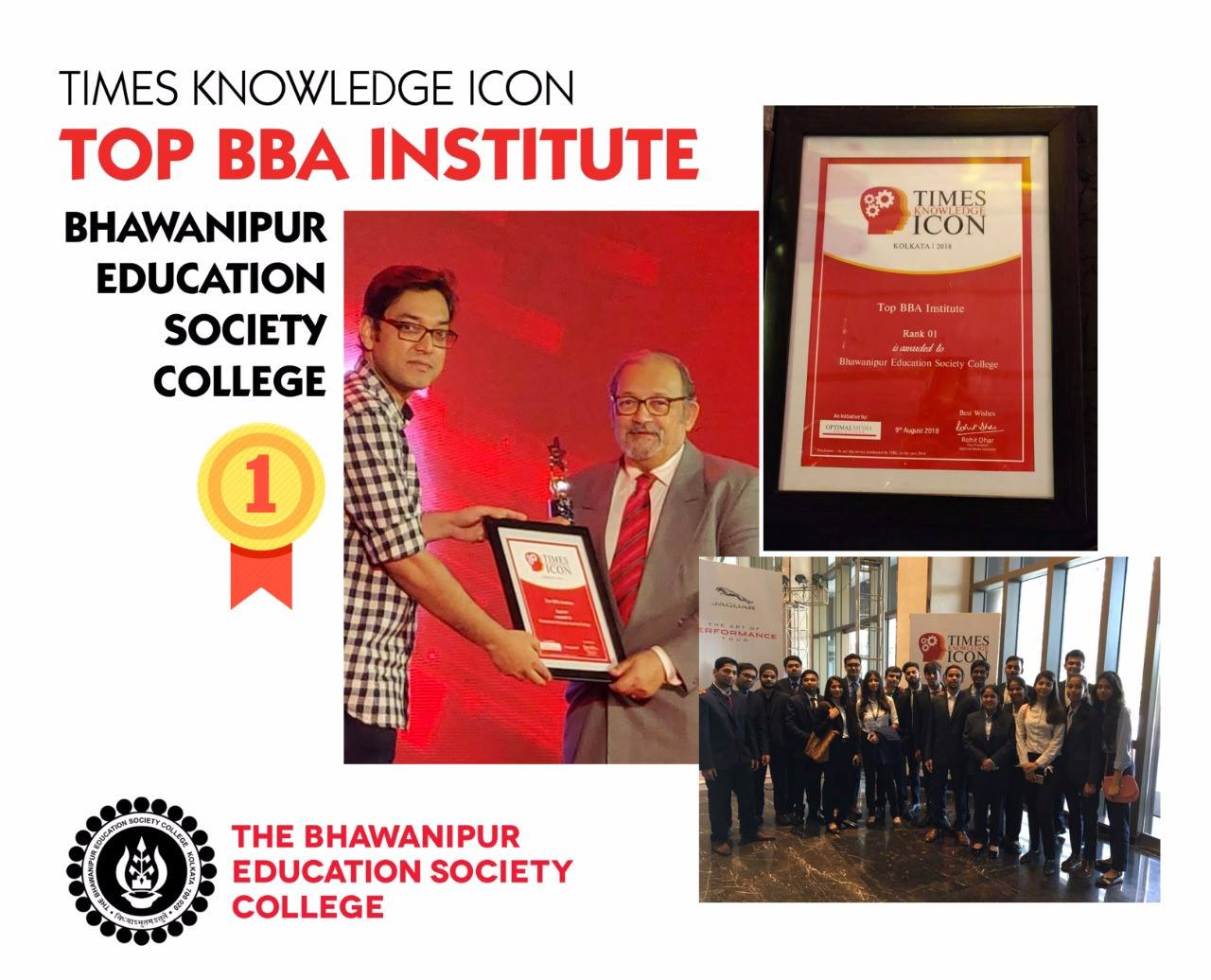 Times Knowledge Icon Awards Times Best BBA Institute Rank 1 (WB) 2018